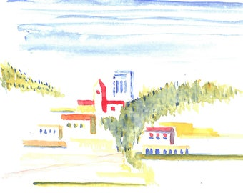 Watercolor Painting of a Hill Town and Ruins in Southern France near Nice and Eze