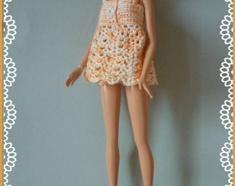 Barbie: babydoll crocheted cotton salmon mottled with booties