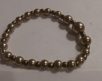 Gold Pearls & Bronze bead stretch bracelet