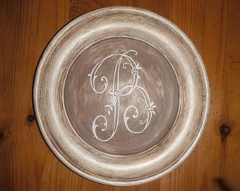 """Patinated and waxed with Monogram """"B"""" decorative wooden plate"""