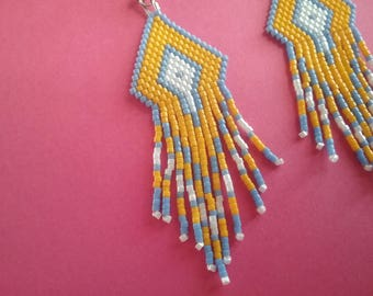 Miyuki delica yellow and blue beads earrings