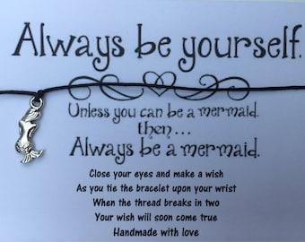 Handmade Mermaid Wish String Friendship Bracelet Black Cord Bag Filler Card Gift