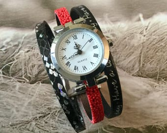 Ladies watch size l trend 2017 round silver black and Red Have a lovely day