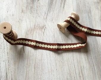 Fancy Brown and ecru Ribbon 15mm