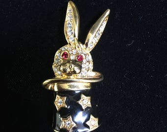 KJL Magical Rabbit in Hat Pin Brooch