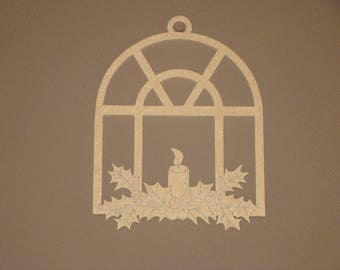 Christmas hanging MDF candle hoe to customize, paint H20 cm x 15.5 cm