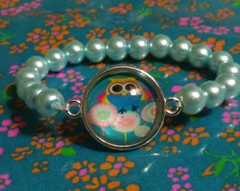5-7 years old girl bracelet glass beads and OWL cabochon