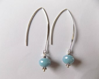 Gray-blue quartz earrings