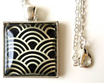 2.5 cm square cabochon pendant necklace