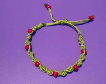 spiral, hemp, wooden beads, green, pink, green hemp, pink beads