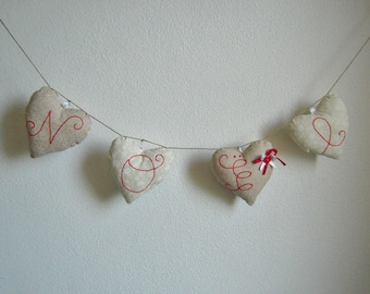 "N ° 4 hearts Garland 2 ""Christmas"" themed"