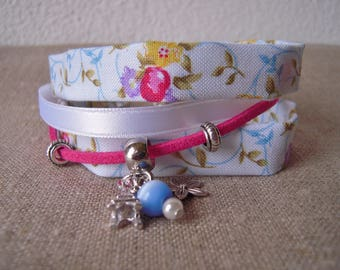 Fabric, three charms and through liberty spirit bracelet