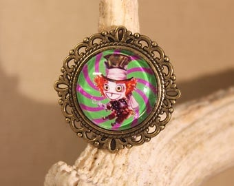 "Adjustable ring, ""the Mad Hatter Alice in Wonderland"" steampunk, retro, fantasy"