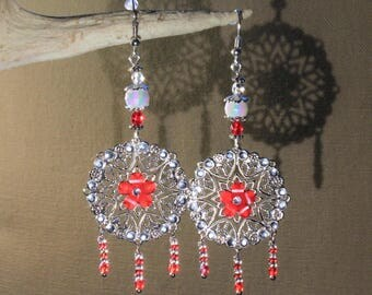 "Earrings ""print Christmas"" fantasy, Christmas, new year's Eve party"