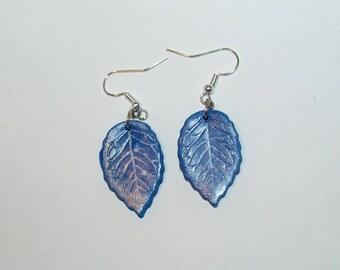 Electric blue leaf Silver earrings