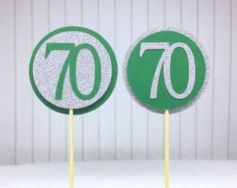 "70th Birthday Cupcake Toppers - Silver Glitter & Emerald Green ""70"" - Set of 12 - Elegant Cake Cupcake Age Topper Picks Party Decorations"