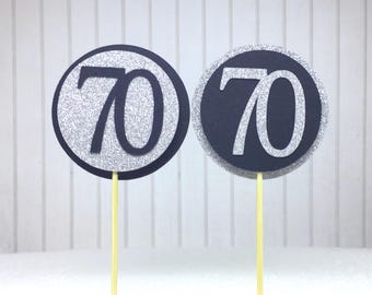 """70th Birthday Cupcake Toppers - Silver Glitter & Black """"70"""" - Set of 12 - Elegant Cake Cupcake Age Topper Picks Party Decorations"""