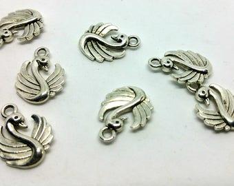 x 1 charm / pendant - silver metal bird - Swan - custom jewelry