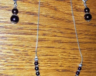 Beautiful necklace and Pink/Purple Hematite earrings