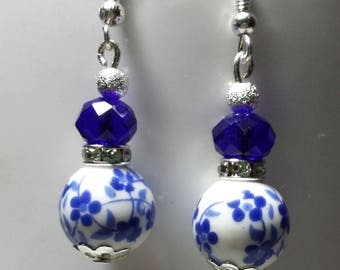Porcelain and royal blue Swarovski crystal earrings