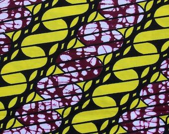 Purple and yellow Dutch Wax fabric