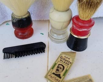 Antique Men Shaving Kit with 5 Shaving Brushes
