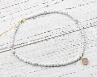 Howlite Beaded Choker Necklace With Small Druzy Charm For Bridesmaids Jewelry Party Gift Natural Gemstone Necklaces