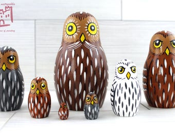 Owls Matryoshka set of 7 pcs Stacking Wooden Russian Nesting Dolls