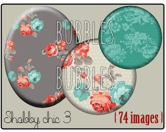 Digital collage sheets - Shabby Chic Printable Images Digital Collage Sheet for Jewelry Making