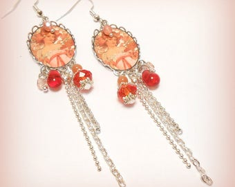 "Cabochon earrings ""tenderness Mucha blossoms"""