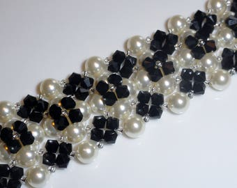 Cuff Bracelet handmade with white Swarovski Pearl and black Crystal beads