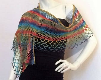 Multicolor art knitting lace shawl