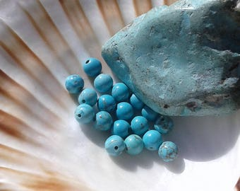Turquoise 6mm round pearls