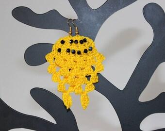"""Earrings crochet spirit """"Pineapple"""" (yellow and black)"""