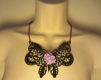 Black and purple lace necklace