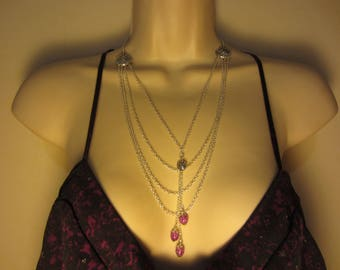 Long MULTISTRAND silver necklace