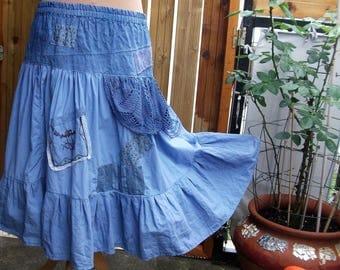 skirt, petticoat blue shabby, boho, vintage