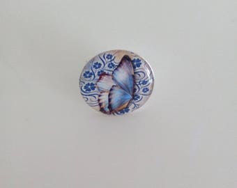 Butterfly silver cabochon ring