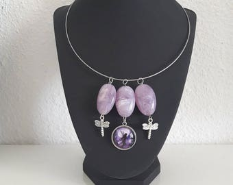 Purple Fairy and Dragonfly necklace
