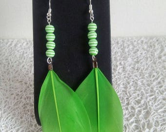 Earrings green and natural feather earrings