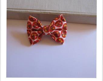 "hair bow ""clip - me"" white flower orange peas"