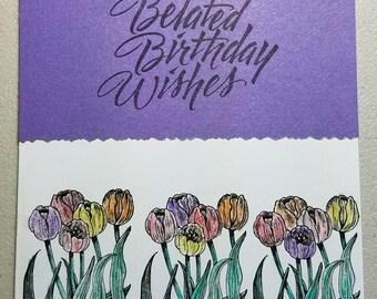 Purple & White Tulip Flowers Handmade Birthday Card