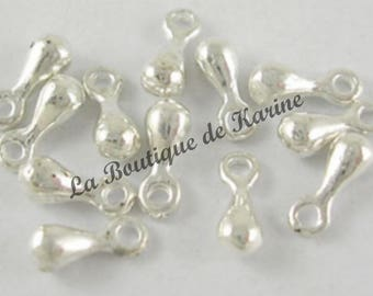 Silver metal drop charms 60 beads clear - creating jewelry