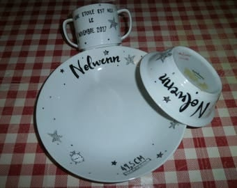 porcelain cup personalized black and white pattern Bowl plate set star time weight newborn