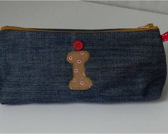 Zippered recycled denim with applied i Kit