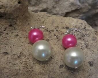 Dangle earrings double Pearl