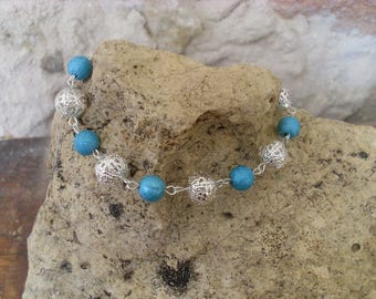 "Bracelet ""spring lightness"" blue and silver"