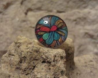 "Adjustable silver ring ""collection psychedelic"""