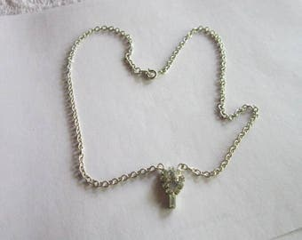 Vintage Costume Silver Tone Chain Necklace with Rhinestone Pendant