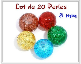 Set of 20 beads 8 mm Crackle effect sparkly 5 colors